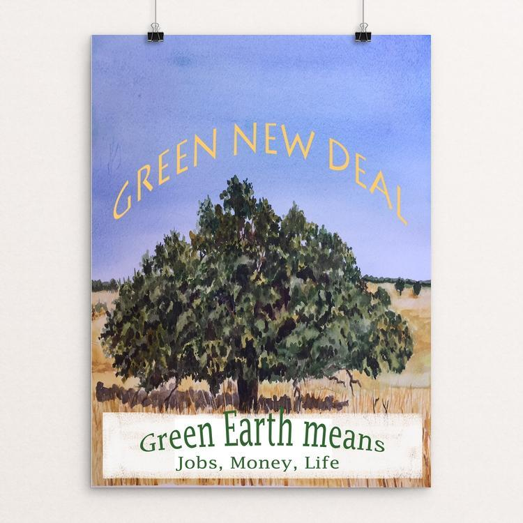 "Green New Deal by Christine Lathrop 12"" by 16"" Print / Unframed Print Green New Deal"