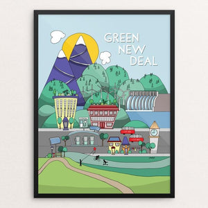 "Green New Deal by j clement wall 12"" by 16"" Print / Framed Print Green New Deal"