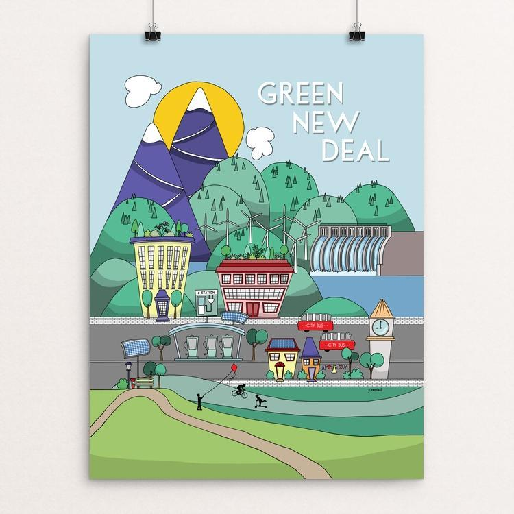 "Green New Deal by j clement wall 12"" by 16"" Print / Unframed Print Green New Deal"
