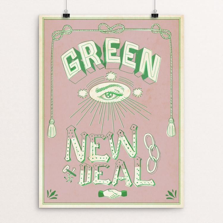 "Green New Deal by Justin Morales 12"" by 16"" Print / Unframed Print Green New Deal"