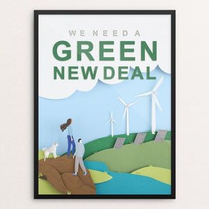 "Green New Deal by Lorraine Nam 12"" by 16"" Print / Framed Print Green New Deal"