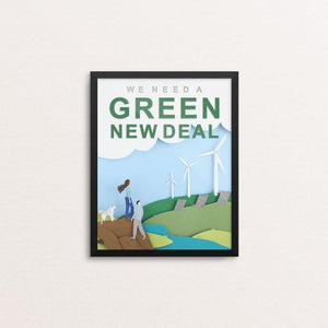 "Green New Deal by Lorraine Nam 8"" by 10"" Print / Framed Print Green New Deal"