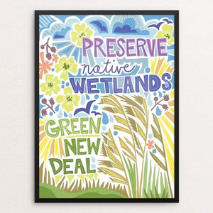 "Green New Deal by Shayna Roosevelt 18"" by 24"" Print / Framed Print Green New Deal"