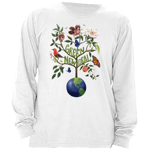 Green New Deal Long Sleeve Shirt by Brooke Fischer White / Small (S) T-Shirt Green New Deal