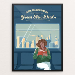 "Green Transportation by Elizaveta Rusalskaya 18"" by 24"" Print / Framed Print Green New Deal"