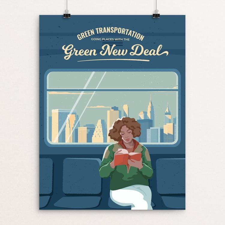 "Green Transportation by Elizaveta Rusalskaya 18"" by 24"" Print / Unframed Print Green New Deal"