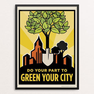 "Green Your City by Paula Chang 12"" by 16"" Print / Framed Print Green Patriot Posters"
