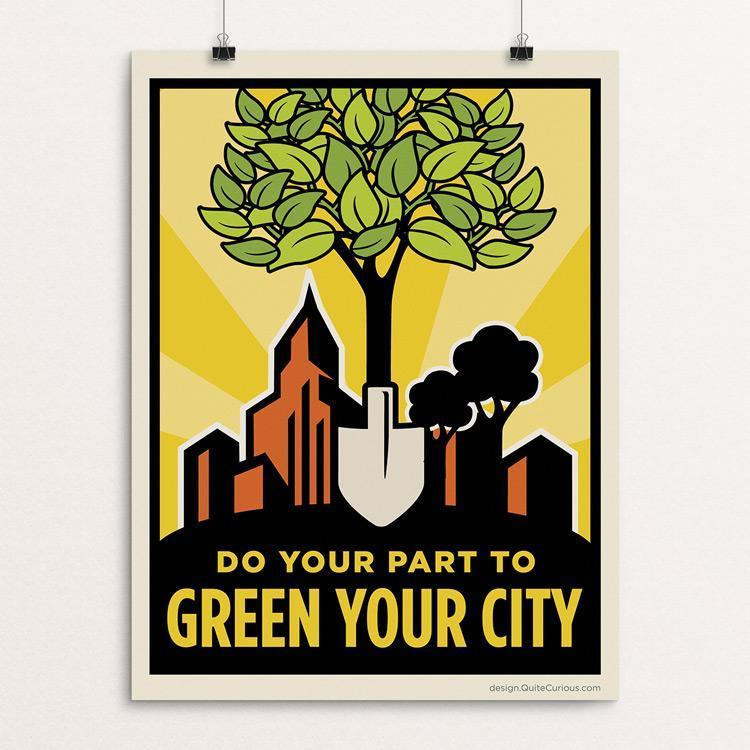 "Green Your City by Paula Chang 12"" by 16"" Print / Unframed Print Green Patriot Posters"