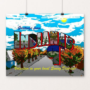 "Greetings From Indiana's 9th by Andrew Martin 20"" by 16"" Print / Unframed Print Postcards from America's Swing Districts"