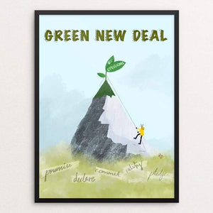 "Greta Leads the Way by Ruchi Mittal 18"" by 24"" Print / Framed Print Green New Deal"