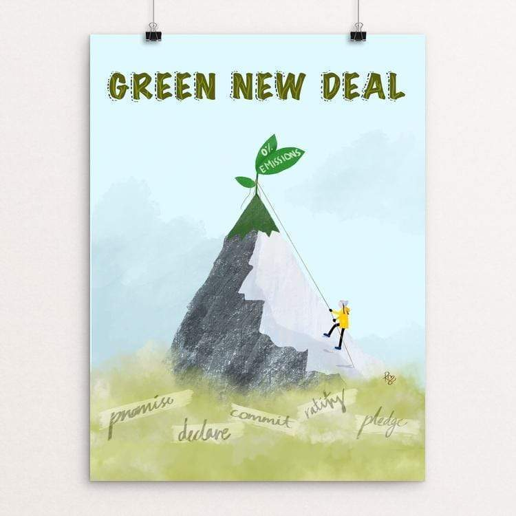 "Greta Leads the Way by Ruchi Mittal 18"" by 24"" Print / Unframed Print Green New Deal"