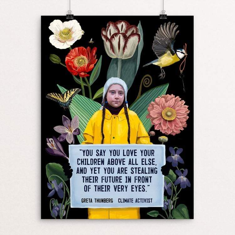 "Greta Thunberg by Brooke Fischer 18"" by 24"" Print / Unframed Print Creative Action Network"