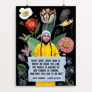 "Greta Thunberg -  Change is Coming by Brooke Fischer 18"" by 24"" Print / Unframed Print Creative Action Network"