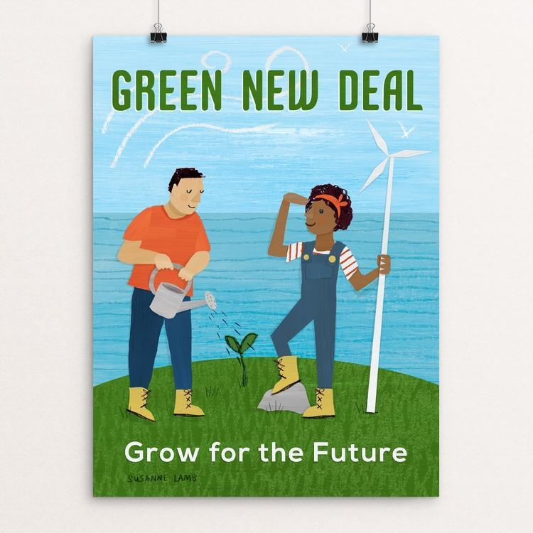 "Grow for the Future by Susanne Lamb 12"" by 16"" Print / Unframed Print Green New Deal"