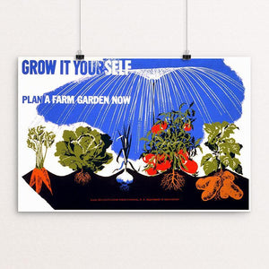 "Grow it yourself Plant a farm garden now by Herbert Bayer 18"" by 12"" Print / Unframed Print WPA Federal Art Project"