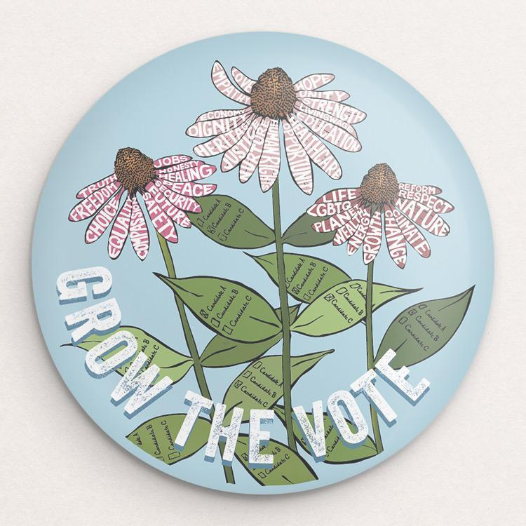 Grow The VOTE! 2 Button by Brooke Fischer Single Buttons Vote!