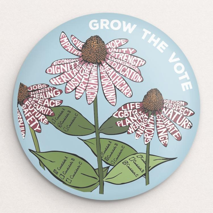 Grow The VOTE! 3 Button by Brooke Fischer Single Buttons Vote!