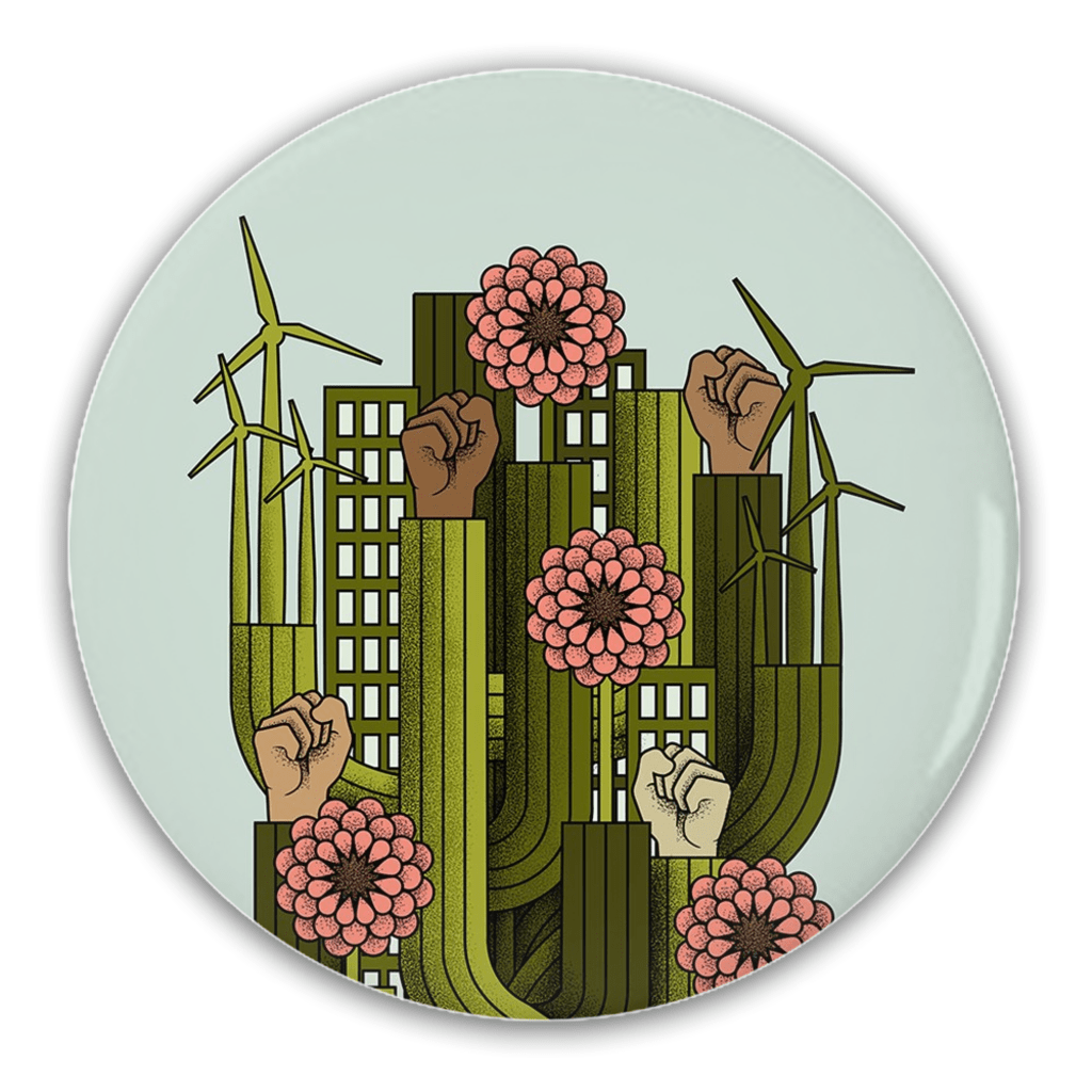 Growing Strong Together Button by Sarah Bloom 1 Pack Buttons Green New Deal
