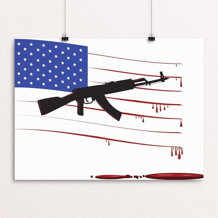 "Gun Flag by SP Lane 12"" by 16"" Print / Unframed Print The Gun Show"