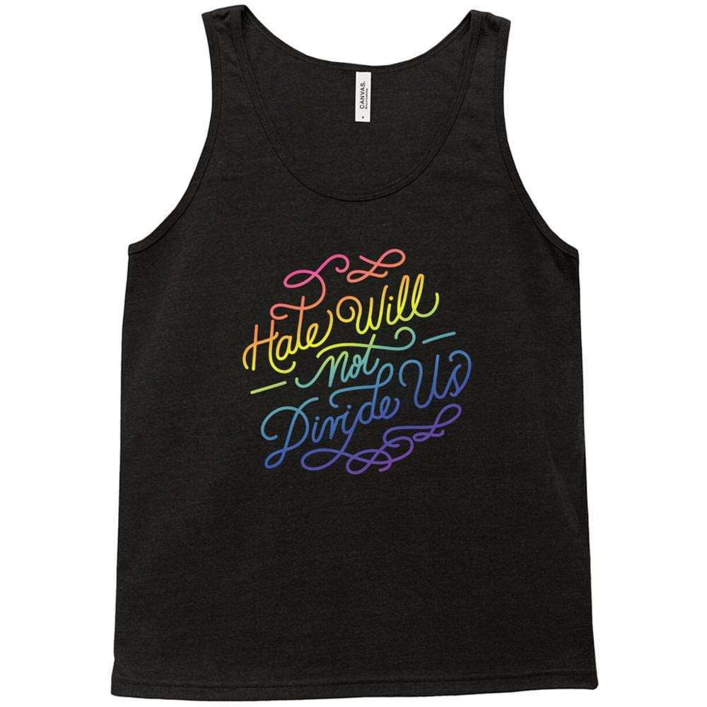 Hate Will Not Divide Us Tank Top by Sindy Jireh Garcia Black Heather / Extra Small (XS) Tank Top Creative Action Network