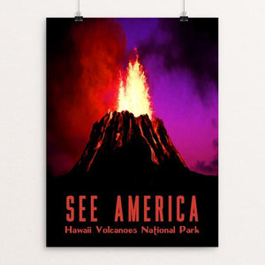 "Hawaii Volcanoes National Park by Isaac Loveland 12"" by 16"" Print / Unframed Print See America"