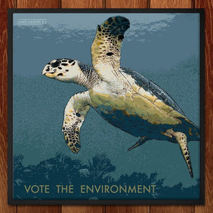 "Hawksbill Turtle 1 by Dan Gardiner 12"" by 12"" Print / Framed Print Vote the Environment"