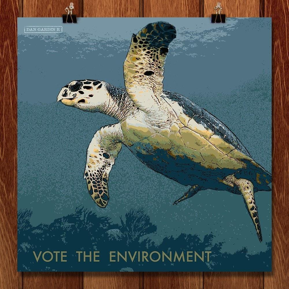 "Hawksbill Turtle 1 by Dan Gardiner 12"" by 12"" Print / Unframed Print Vote the Environment"
