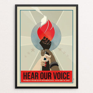 "Hear Our Voice: The Women's March on Washington by Liza Donovan 12"" by 16"" Print / Framed Print We Can Do It!"