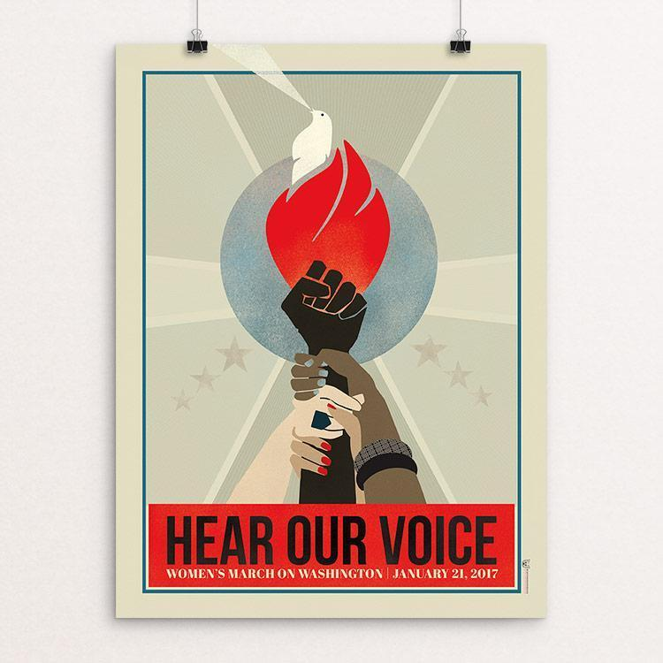 "Hear Our Voice: The Women's March on Washington by Liza Donovan 12"" by 16"" Print / Unframed Print We Can Do It!"