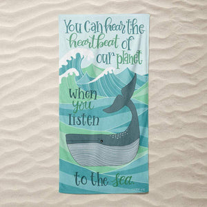 Heartbeat of the Planet Beach Towel by J Clement Wall Beach Towel Ocean Love