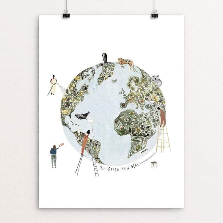 "Helping Hands by Isabelle Vandeplassche 18"" by 24"" Print / Unframed Print Green New Deal"