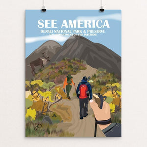 "Hiking In Denali National Park by Laura Whitelock 12"" by 16"" Print / Unframed Print See America"