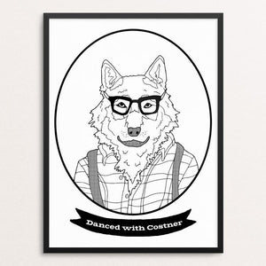 "Hipster Wolf by Daisy Patton 18"" by 24"" Print / Framed Print Join the Pack"