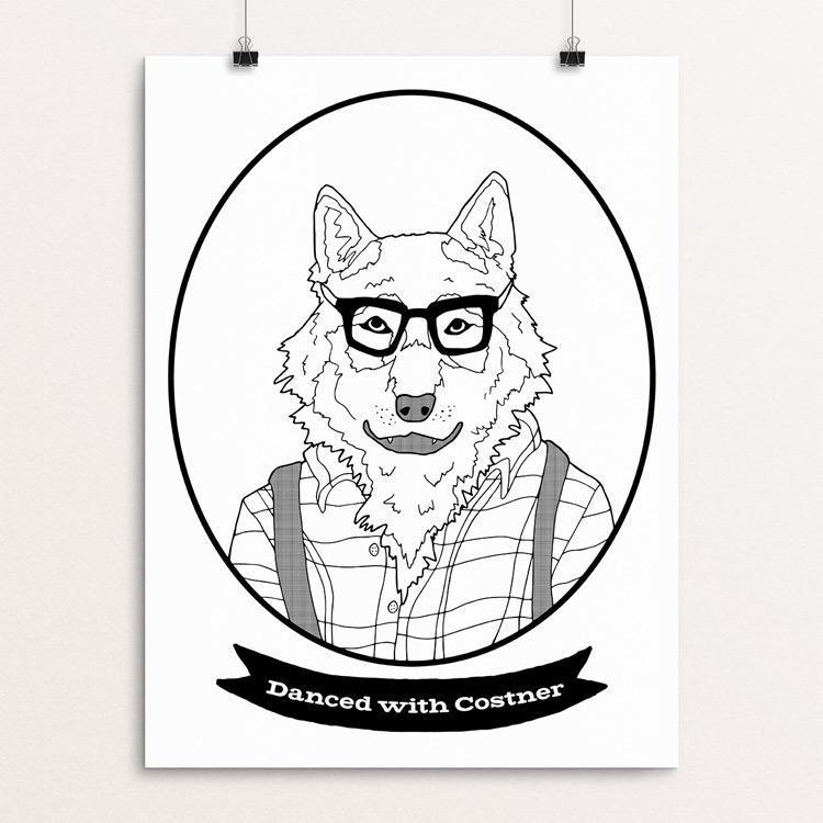 "Hipster Wolf by Daisy Patton 18"" by 24"" Print / Unframed Print Join the Pack"