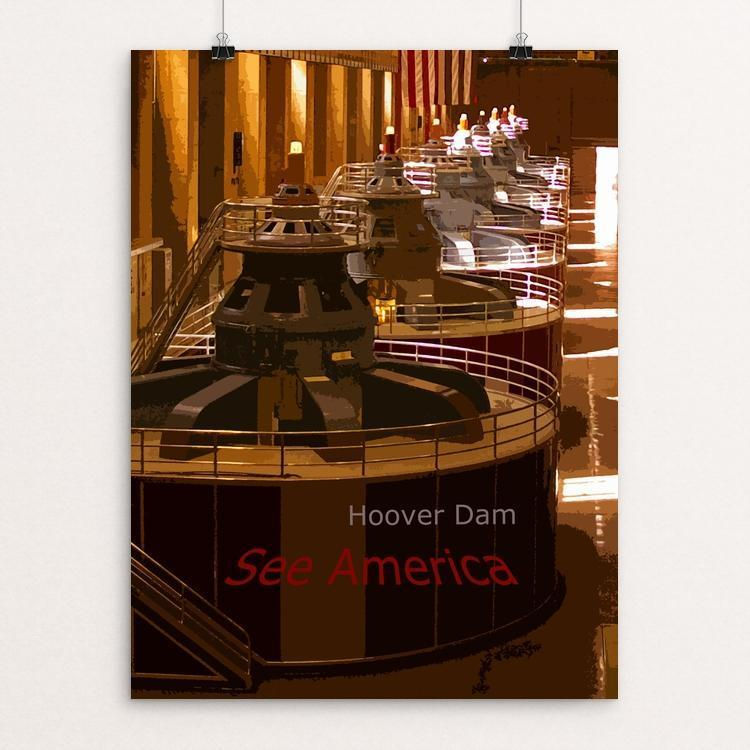 "Hoover Dam by Rodney A. Buxton 12"" by 16"" Print / Unframed Print See America"