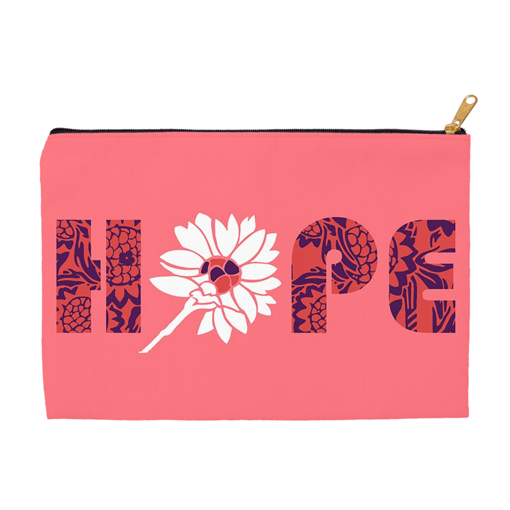 Hope Accessory Bag by Holly Savas 8.5x6 inch w/ Black Zipper Tape Accessory Bag Creative Action Network