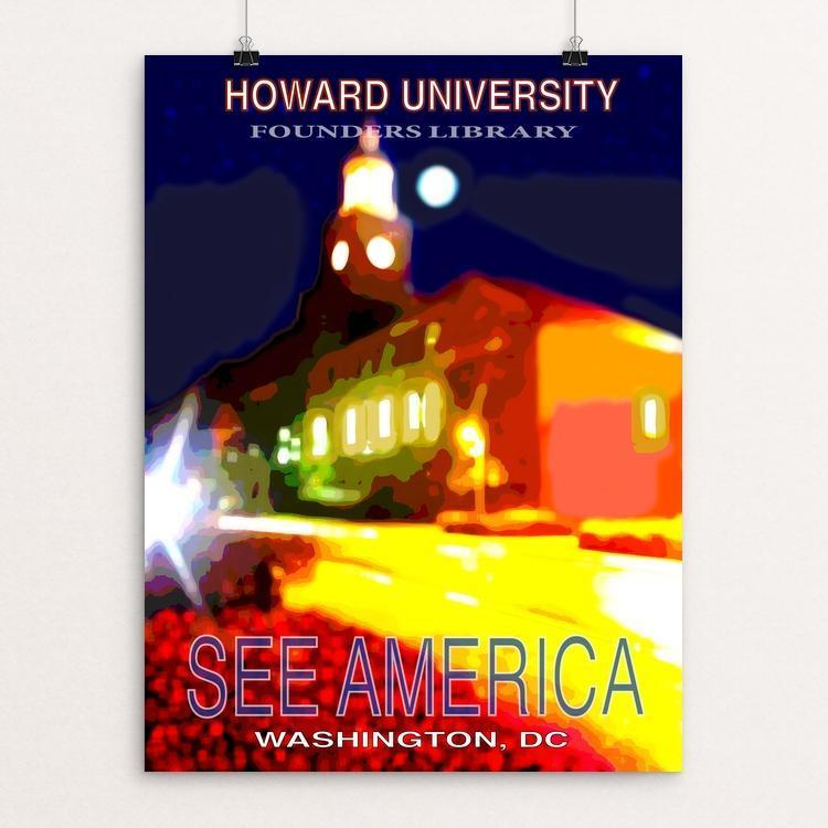 "Howard University Founders Library by Ginnie McKnight 12"" by 16"" Print / Unframed Print See America"