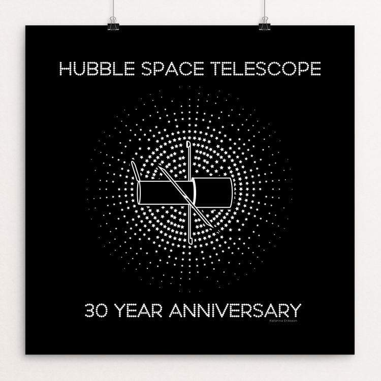 "Hubble Space Telescope by Katarina Eriksson 12"" by 12"" Print / Unframed Print Space Horizons"