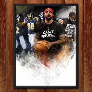 "I Can't Breathe, 2014 by Nikkolas Smith 18"" by 24"" Print / Framed Print Transcend - Moments in Sports that Changed the Game"