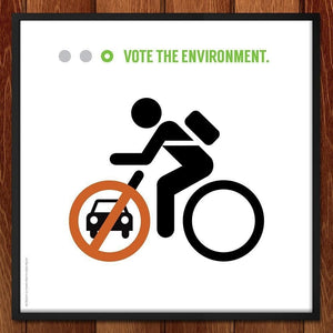 "I Want To Ride My Bicycle by Luis Prado 12"" by 12"" Print / Framed Print Vote the Environment"
