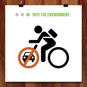 "I Want To Ride My Bicycle by Luis Prado 12"" by 12"" Print / Unframed Print Vote the Environment"