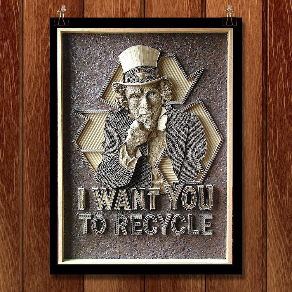 "I Want You to Recycle by Mark Langan 12"" by 16"" Print / Unframed Print Green Patriot Posters"