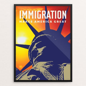 "Immigration by Chris Lozos 12"" by 16"" Print / Framed Print What Makes America Great"