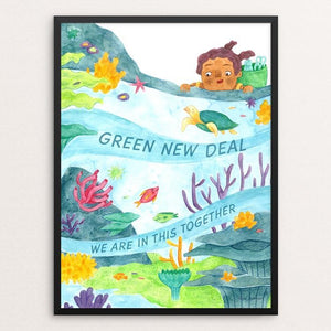 "In This Together by Jade Johnson 12"" by 16"" Print / Framed Print Green New Deal"