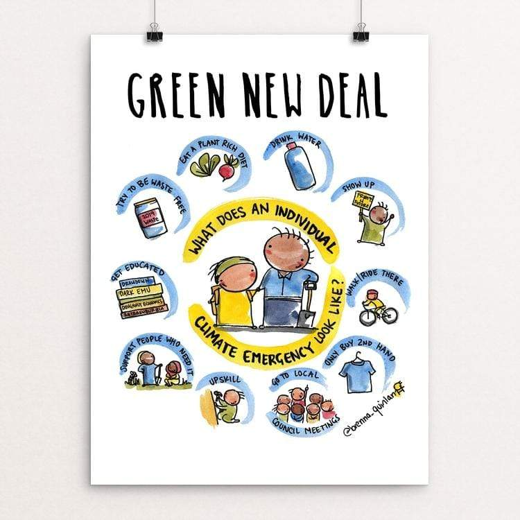 "Individual Climate Emergency by Brenna Quinlan 18"" by 24"" Print / Unframed Print Green New Deal"