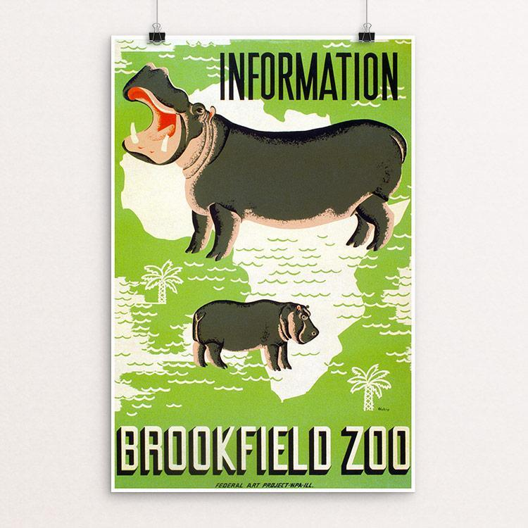 "Information - Brookfield Zoo by Mildred Waltrip 12"" by 18"" Print / Unframed Print WPA Federal Art Project"