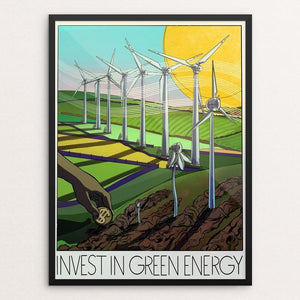 "Invest in Green Energy by Marc Osborne 12"" by 16"" Print / Framed Print Green New Deal"