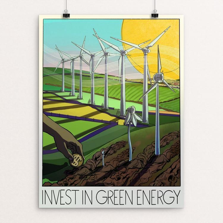 "Invest in Green Energy by Marc Osborne 12"" by 16"" Print / Unframed Print Green New Deal"