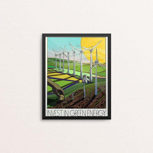 "Invest in Green Energy by Marc Osborne 8"" by 10"" Print / Framed Print Green New Deal"