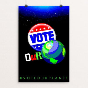"It's ours! by BOB RUBIN 12"" by 18"" Print / Unframed Print Vote Our Planet"